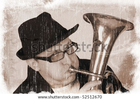 Funny man playing a horn (vintage style, with a grungy effect added) - stock photo