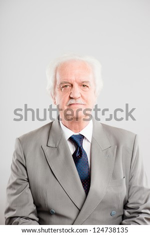 funny man portrait real people high definition grey background - stock photo