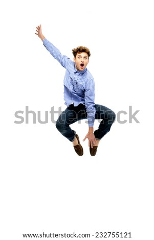 Funny man posing over white background - stock photo