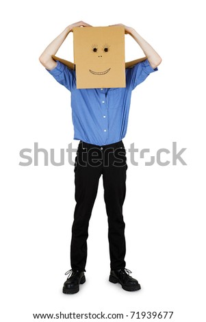 Funny man put on his head a box - stock photo