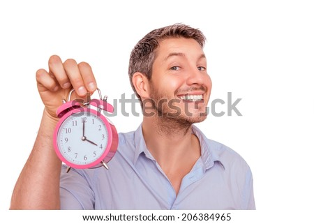 funny man reminding with big clock hurry up - stock photo