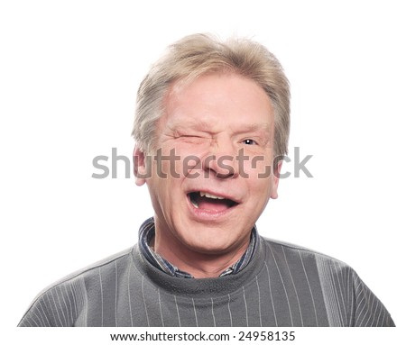 funny man wink, portrait on isolated background - stock photo