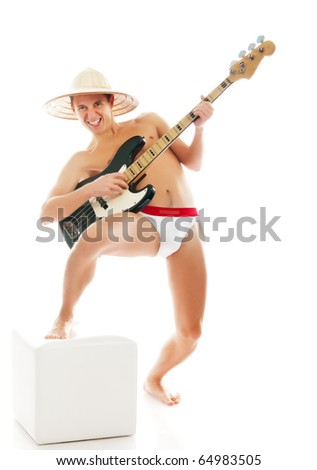 funny man with a guitar on a white background - stock photo