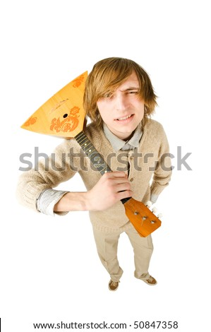 Funny man with balalaika. Fisheye lens - stock photo