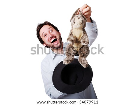 Funny man with big laugh with rabbit from the hat - stock photo