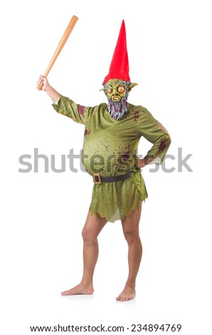 Funny man with club isolated on white - stock photo