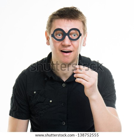 funny man with fake glasses isolated on a white background - stock photo