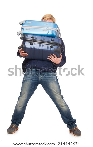Funny man with luggage on white - stock photo