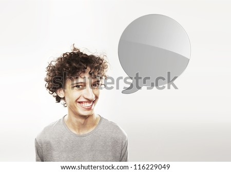 funny man with speech bubble - stock photo