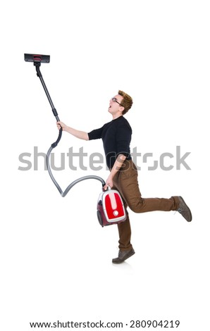 Funny man with vacuum cleaner on white - stock photo