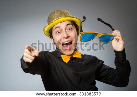 Funny man with vintage hat - stock photo
