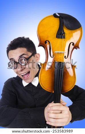 Funny man with violin on white - stock photo