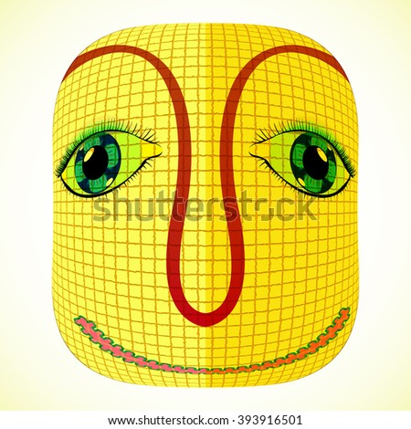 funny mardi gras mask with square patchwork, abstract art illustration