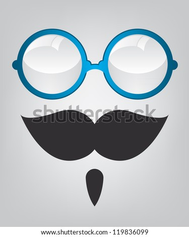 Funny mask blue sunglasses and mustache - stock photo