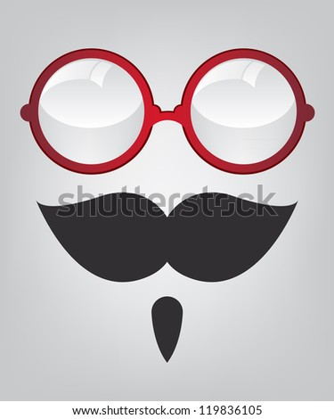 Funny mask red sunglasses and mustache - stock photo
