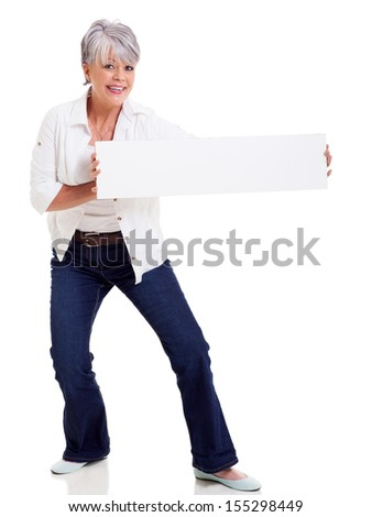 funny mature woman presenting blank banner isolated on white - stock photo