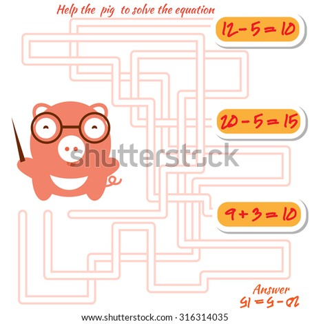 Funny maze game for kids. Visual game for preschool children. Maze puzzle with solution.  labyrinth for preschool children with pig. Rebus or quiz for school