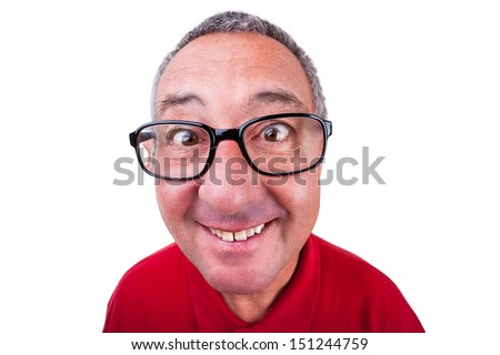 Funny Men Face - stock photo