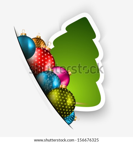 Funny 2014 Merry Christmas background with stylized paper tree and baubles. - stock photo
