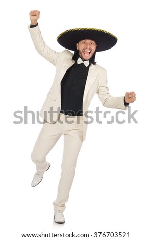 Funny mexican in suit and sombrero isolated on white - stock photo