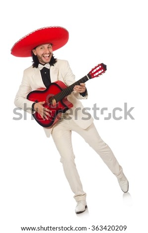 Funny mexican in suit holding guitar isolated on white - stock photo