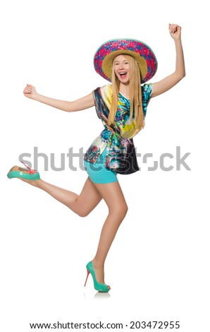 Funny mexican with sombrero hat - stock photo