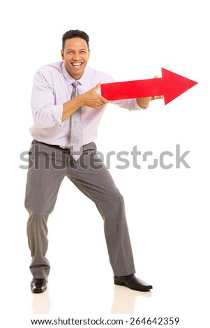 funny middle aged man pointing with arrow sign on white background - stock photo