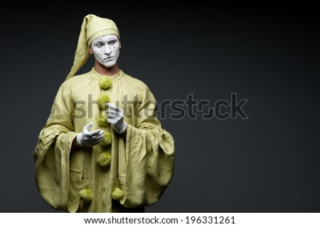 funny mime show calm face - stock photo