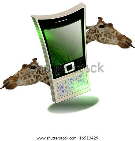 funny mobile illustration - stock photo