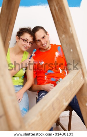 Funny moments of a couple during home renovation