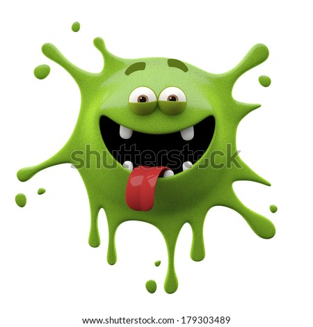funny monster 3D character, crazy little creep, mischievous face, grimace, splash  - stock photo