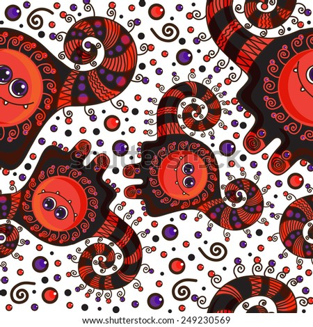Funny monster seamless pattern. Doodle on a colorful background - stock photo