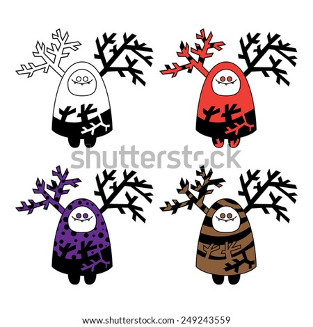 Funny monster set doodle on a white background - stock photo