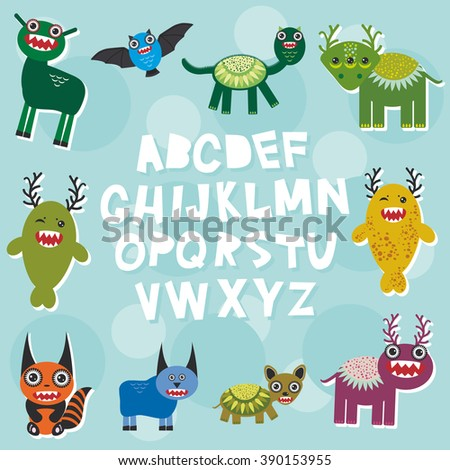 Funny monsters party card design. alphabet  from A to Z. Vector illustration