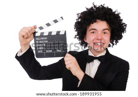 Funny movie director isolated on white - stock photo
