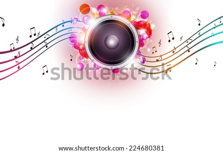 funny multicolor abstract music background with music notes and blurry lights