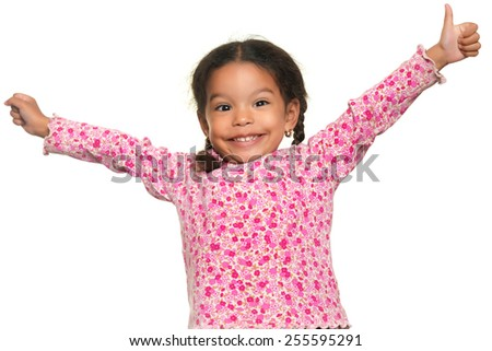 Funny multiracial small girl opening her arms wide isolated on white - stock photo