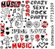 funny music doodles, crazy party scribbles isolated on white background - stock photo