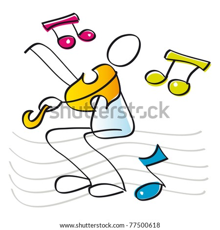 funny musician playing the violin - stock photo