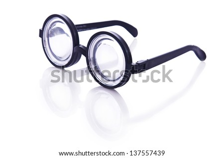 Funny nerd glasses isolated on white - stock photo