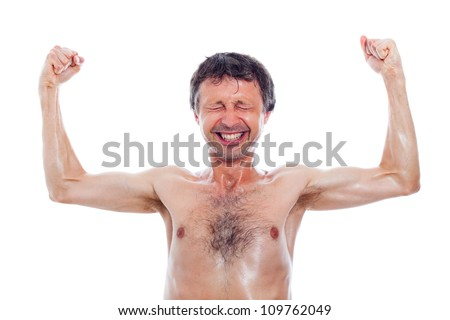 Funny nerd man showing muscles, isolated on white background. - stock photo