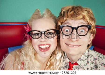 Funny nerdy couple - stock photo