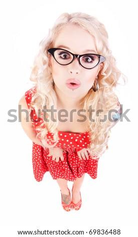 Funny nerdy girl - stock photo