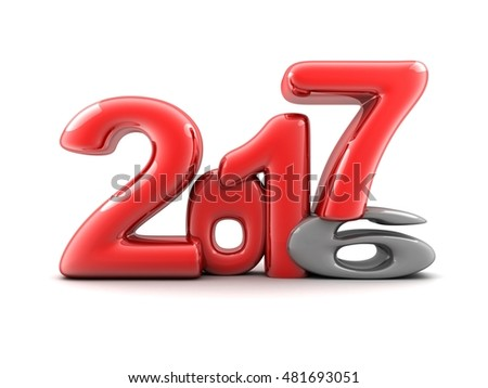 Funny new year 2017 (done in 3d rendering, white background)
