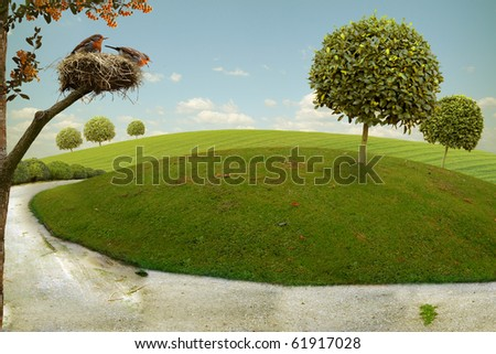Funny nice landscape with park road on a hill and nest with birds - stock photo