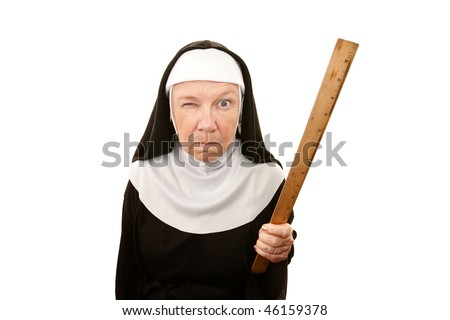 Funny nun carrying wooden ruler as a weapon - stock photo