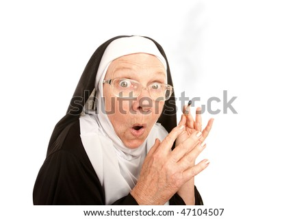 Funny nun surpirsed holding a lit cigarette - stock photo