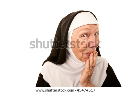 Funny Nun with Happy Shocked on her Face Stifling a Laugh - stock photo