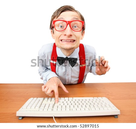 Funny office worker - stock photo