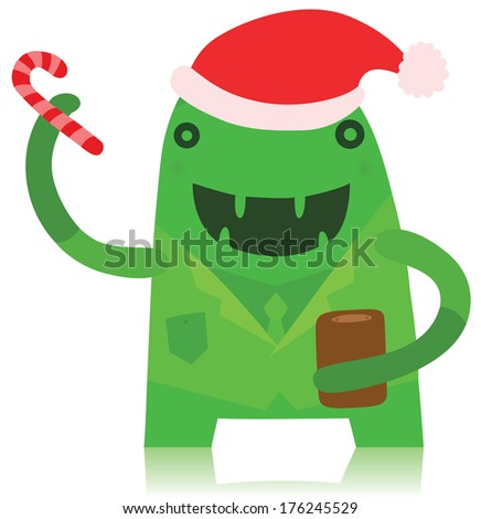 Funny Office Worker Monster in Christmas Outfit